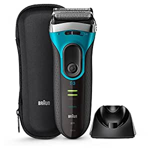 Braun Series 3 ProSkin 3080s Wet and Dry Electric Foil Shaver for Men/Rechargeable Electric Razor, Blue