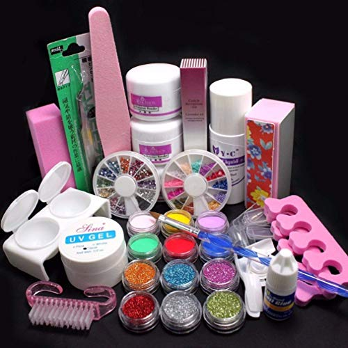 31 pc Nagel Tips Set Acryl Nail Art Set Pinsel Glitter Schleiffeile Nagelkleber Sticker Clipper Strasssteinen 3D Blumen Acrylpulver Glitzer Pailletten Nagelkleber Künstlicher Nagel Feilen Kit (Bunt) - Gel-acryl-kit