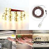 KOBWA Geste Sensor Licht, USB Powered LED Streifen mit Bewegungssensor für Schlafzimmer Schrank, Treppen, Nachttisch, Flur, WC - 3.28 Ft, 6000K