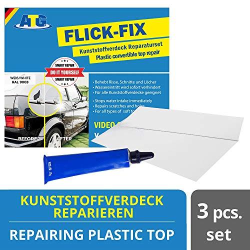 ATG Flick Fix  Kunststoff-Verdeck Teichfolien Pool Reparaturset, weiß für Cabrioverdeck und Planen