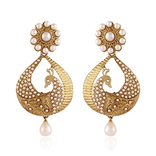 I Jewels White Gold Plated Peacock Shaped Pearl Dangle & Drop Earring For Women Em2251W