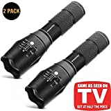 LED Torch Flashlight, Wowlite 1600 LM Ultra Bright - CREE XML T6 Tactical Flashlight As Seen On Tv with 5 Light Modes and Adjustable Focus for Emergency Camping Hiking (BLACK-2PACK)