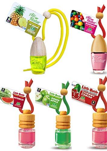5 Stück elegante Duftflakons fürs Auto Autoduft Lufterfrischer 2 x Air Natur (Ananas - Pinapple, Bubble Gum - Kaugummi) 3 x Little Bottle ( Apple - Apfel, Cherry - Kirsche, Watermelon - Wassermelone) -