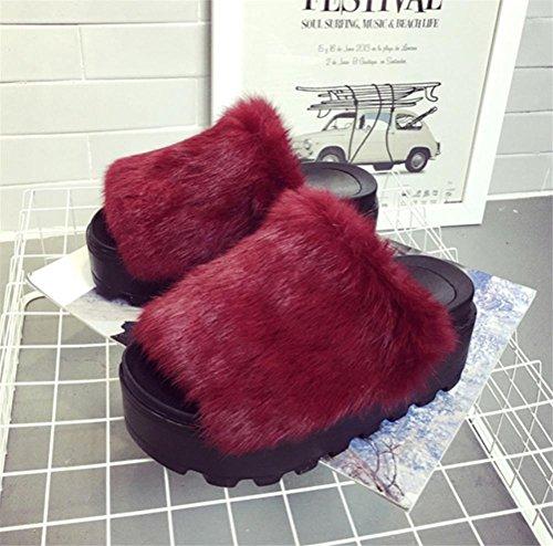 Donna Casual Pantofole interno antiscivolo alta caldo in autunno e inverno pantofole 4