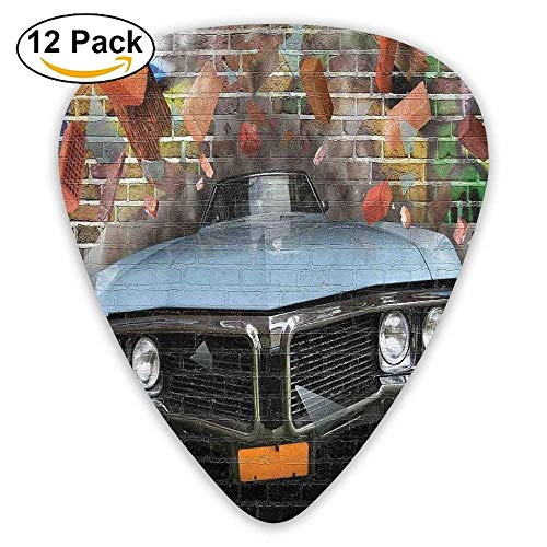 Graffiti Featured Graphic Of Crashing Automobile On A Brick Wall Underground Street Style Guitar Picks 12/Pack - Wall Brick Graphics