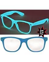 Nerd Glow Brille Wayfarer Leuchtend / Klarglas Blau