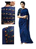 Sarees (RV Creation for Women Party Wear offer Sarees New Collection Today Low Price Sarees in Blue Georgette Material Latest Saree With Blouse Free S