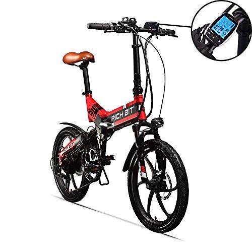 RICH BIT Gli Uomini/Le Signore Nuovo aggiornamento Bici elettrica Pieghevole Bici da Strada Bicicletta 48v 8Ah 250W 20 Pollici Doppia Sospensione con Schermo LCD Intelligente (LCD Red)