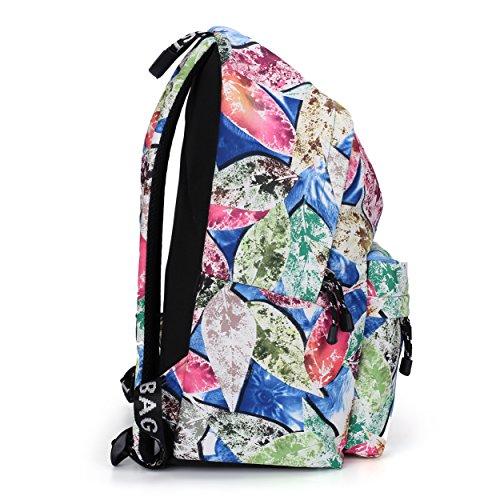 Mocha weir JIAYBL Laptop Taschen Schultern Kinder Schultaschen Rucksack Hochschule Mädchen Canvas Pack reisen (Rot Gefieder) Blau Blätter