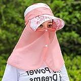 QIER-MZ Frauen Cap Zusammenklappbar Sommer Herbst Im Freien Uv-Visier Radfahren Hut Gesicht Cap Outing Kappe Wind Cap Rosa