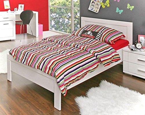 Jugendbett Snow Bett 90 x 200 cm, Einzelbett in Weiß matt, von Forte - Bett-matt