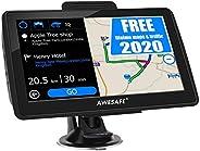 AWESAFE Navigation für Auto Navigationsgerät 7 Zoll GPS Navi Navigationssystem mit 2020 Europa Karte Lebenslang kostenlos Ka