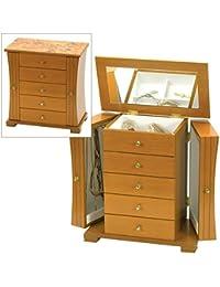 "Light Oak Wood Finish Wardrobe Style Wooden Jewellery Box with ""Oriental Rose"" Design by Mele & Co."