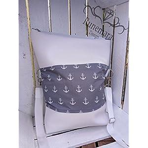 Foldovertasche Anker grau