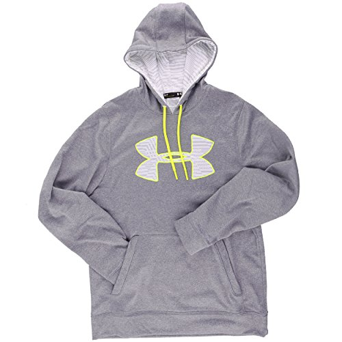 Under Armour Herren Sweatshirt AF Big Logo Hoody, grau/weiss/alu 25, XL XL - Coldgear Hoody