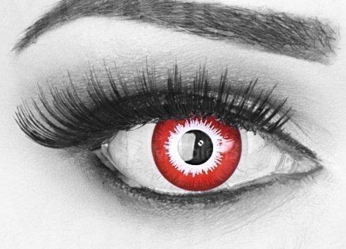 Party Poison Kostüme (Farbige rote / weiße Crazy Fun Kontaktlinsen 'Poison Blood' mit Bluteffekt, gratis Linsenbehälter + 60ml Pflegemittel, Topqualität zu Fasching, Karneval und)