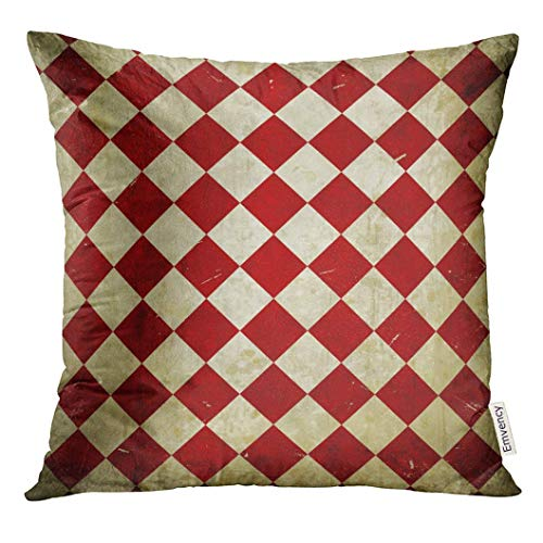 Throw Pillow Cover Red Checker Grunge Checkered Harlequin Checkerboard Circus Vintage Decorative Pillow Case Home Decor Square 18x18 Inches Pillowcase 3d-checker
