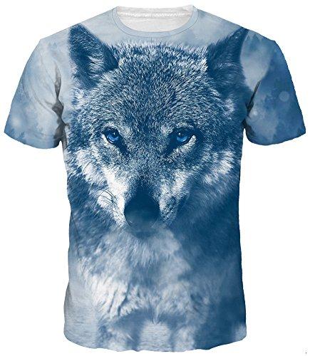 EmilyLe Hombre 3D Graphic Print Camisetas Moda Manga Corta Tees Round Neck Top Camisa EU 2XL(Etiqueta 3XL),Lobo de Ojos Azules
