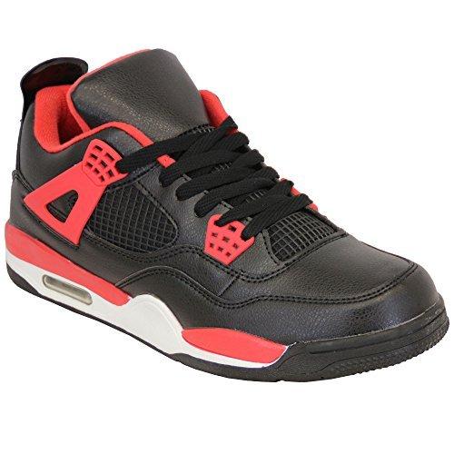 Herren Turnschuhe Spitze Running Active BUBBLE Schuhe Pumps Sneakers Freizeit Sport schwarz/rot - 2121