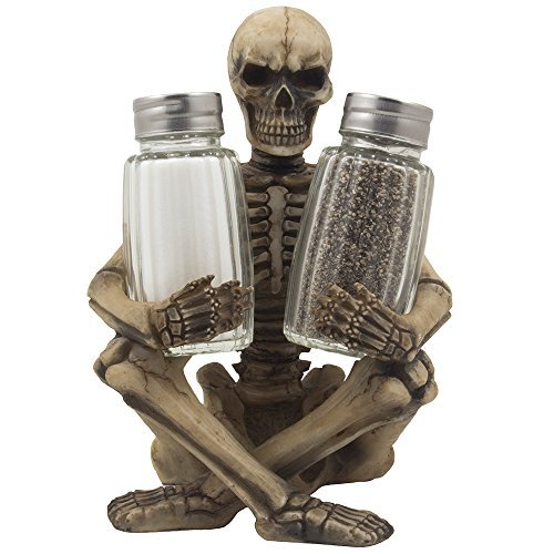 Scary Skeleton Glass Salt and Pepper Shaker Set with Decorative Spice Rack Display Stand Holder Figurine for Spooky Halloween Party Decorations and Skulls & Skeletons Kitchen Decor Table Centerpiece Sculptures As Medieval or Gothic Gifts by Home-n-Gifts