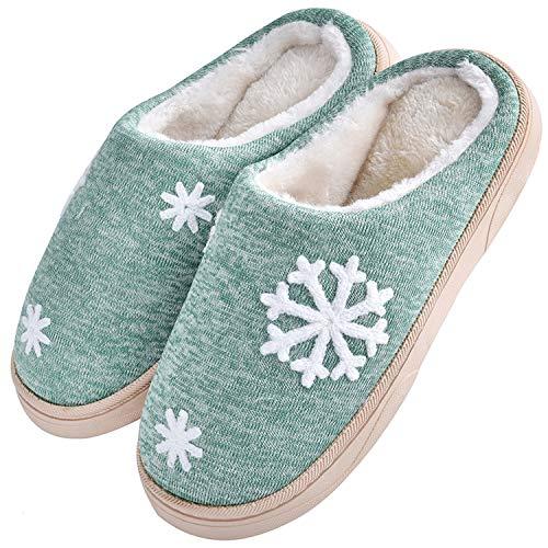 JACKSHIBO Damen Herren Plüsch Baumwolle Pantoffeln Weiche Leicht Wärme Hausschuhe Rutschfeste Slippers Für Unisex, Grün, EU 36/37=CN 38/39