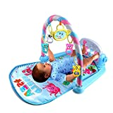 Krabbeldecke Spielbogen Baby Klavier-Spielmatte Rainforest Piano-Gym mit 5 x Nehmbaren Spielzeugen und Haha Spiegel, ab 0 Monaten