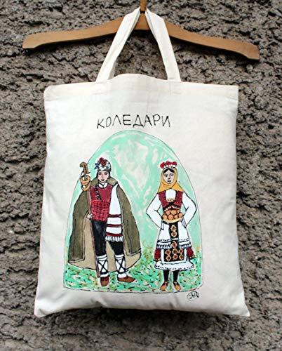 Handgemalte Bulgarien Tracht Baumwolltragetasche, bulgarische Einkaufstasche, Folk Tote Tasche, traditionelle bulgarische Tasche, Tasche Volkskunst, Folklore Kunst -