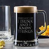 Verre à bière inspiré de Game of Thrones « I Drink and I Know Things » - Cadeau pour Homme - Chope à bière gravée ou à Alcool