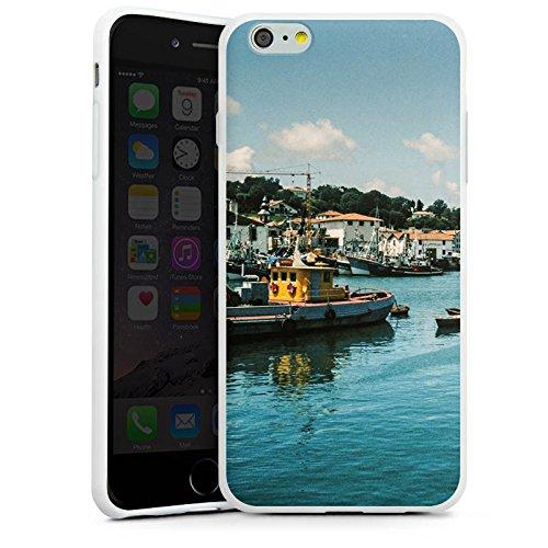 Apple iPhone X Silikon Hülle Case Schutzhülle Hafen Küste Boote Silikon Case weiß