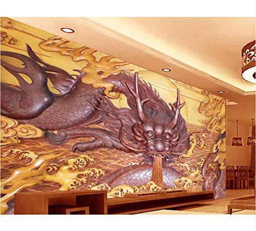 Weaeo Personalice Los Murales De Pared 3D Decoración Para El Hogar Tallado En Madera De Dragón Fondos De Pantalla Fotográficos En 3D Para La Sala De Estar Papel Tapiz Mural 3D-250X175Cm