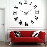 Yosoo NUEVA moderna ultra silencioso Dígito de bricolaje grande reloj de pared Espejo moderno 3D Etiqueta adhesiva del espejo acrílico árabe pegatina decoración del hogar, sala de estar dormitorio dormitorios reloj Home Office Decor (Negro)