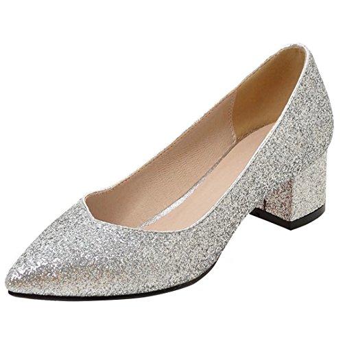 AIYOUMEI Damen Chunky Heel Glitzer Pumps mit 4cm Absatz Bequem Modern Slip On Schuhe