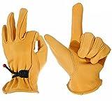 Haltbare Echt-Leder Arbeitshandschuhe für Herren und Frauen für die Industrie Konstruktion (M)