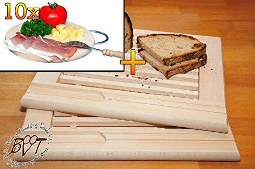 Buche - SPÜLMASCHINENFEST '*' -Grill-Holzbrett mit Krümelfach ca. 24 mm Dicke natur 2 Stück, mit abgerundeten Kanten, Maße viereckig je ca. 36 cm x 29 cm & 10 mal Hochwertiges, dickes ca. 16 mm Buche - SPÜLMASCHINENFEST '*' -Grill-Holzbrett natur mit Metallhenkel, Maße rund ca. 25 cm Durchmesser als Bruschetta-Servierbrett, Brotzeitbrett, Bayerisches Brotzeitbrettl, NEU Massive Schneidebretter, Frühstücksbretter,