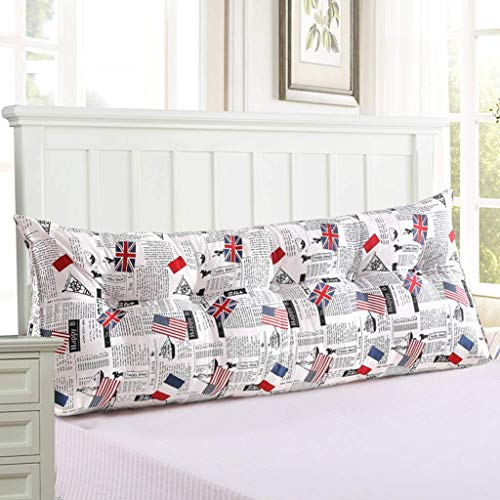 YHEGV Dreieck Kissen Canvas Bett Kissen Perle Baumwolle gefüllt dreieckigen Keil Bett Rückenlehne Stützkissen Lendenkissen mit abnehmbaren (Farbe: C, Größe: 180 * 50 cm) -