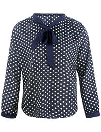 LeeY Damen Mode Tupfen Drucken Lange Ärmel Chiffon Bowknot Hemd Softstyle  Lose V-Ausschnitt Bluse Tops Arbeit Hemd Beiläufig Hemd Bleistift… 39d4a73bed