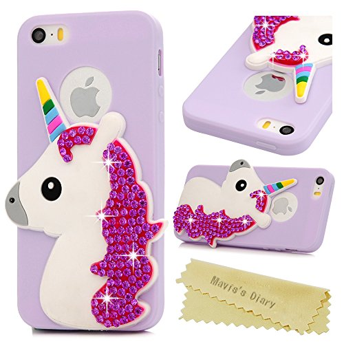 Coque iPhone SE / iPhone 5S / iPhone 5 Mavis's Diary Étui Housse de Protection TPU Silicone Gel Souple Bling Diamant Paillette Sparkle Licorne 3D Bumper Phone Case Cover Protection écran Swag Pour iPh Violet