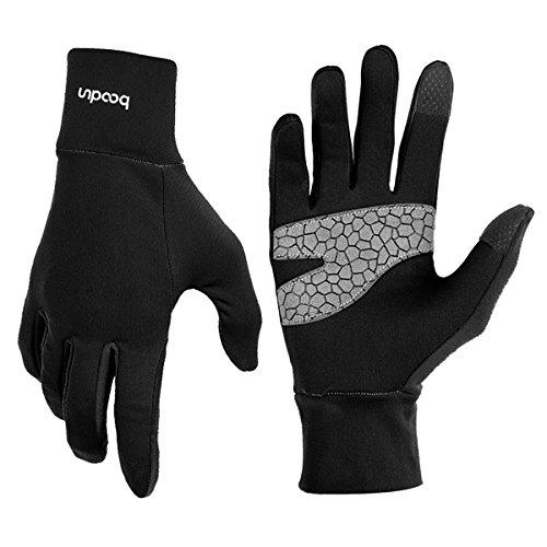 Leichte Sporthandschuhe Laufhandschuhe WARM UP von Boodun Running Handschuhe Unisex Sport Handschuhe Slim Walking Handschuhe für Damen und Herren mit Touchscreen-Funktion und Anti-Rutsch Funktion - Schwarz - S/M