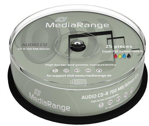 MEDIARANGE CD-R 52x 700mb 80 minuti AUDIO PRINT STAMPABILI cake 25 cdr mr224