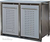Mülltonnenboxen aus Edelstahl mit Abdeckung 2x240L