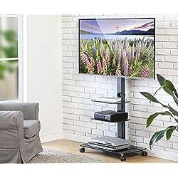 FITUEYES Chariot Meuble TV avec Roulette Support Télé Pied Pivotant pour Ecran de 32 à 65 Pouces LED LCD Plasma avec 3 Etagères pour Ranger AV Equipement TT306503GB