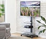 FITUEYES Chariot Meuble TV avec Roulette Support Télé Pied Pivotant pour Ecran de...