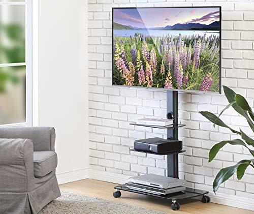 FITUEYES TV Wagen TV Bodenständer mit Rollen Fernseh Standfuß Drehbar Höhenverstellbar 32 bis 65 Zoll LED LCD TV Plasma TT306503GB