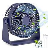 TedGem Ventilatore USB, Ventilatore da Tavolo Ventilatore Portatile Rotazione a 360 °, Ventilatore USB può Mettere Oli per Aromaterapia, Ventilatore Regolabile a 3 velocità per Casa, Ufficio(Blu)