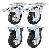 Forever Speed Lote de 4 Ruedas Giratorias de Transporte Ruedas Pivotantes para Carritos Muebles Ø 125mm Soportan 100 kg por rollo Con 2 Freno & 2 plac