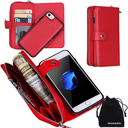Preisvergleich Produktbild DRUnKQUEEn iPhone 7 Case, Zipper Wallet Type Flip Folio Case Premium Leather Credit Card Holder Feature - Detachable Magnetic Back Cover with Lanyard Wrist Hand Strap for iPhone7(4.7'') - Red