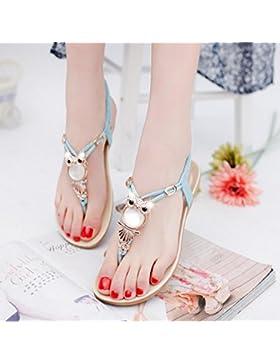 DM&Y 2017 yardas de moda de verano con cuentas de clip del dedo del pie zapatos planos de las sandalias de los...