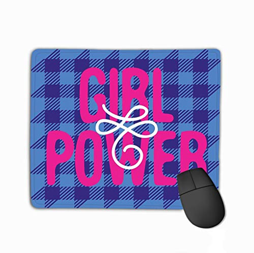 Rectangle Non-Slip Rubber Mousepad 11.81 X 9.84 Inch Poster Girl Power Abbreviation Tartan Background Sticker Patch pin Print Poster Girl Power (Tartan Patch)