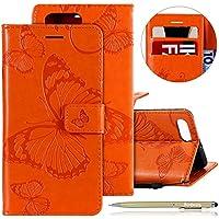 Herbests Leder Handy Schutzhülle für Huawei Honor View 10 Lederhülle Schmetterling Muster Leder Handyhülle Handytasche Brieftasche Ledertasche Bookstyle Flip Case Cover Klapphülle,Orange