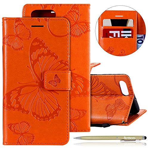 Kompatibel mit Leder Handy Schutzhülle Huawei Honor View 10 Lederhülle Schmetterling Muster Leder Handyhülle Handytasche Brieftasche Ledertasche Bookstyle Flip Case Cover Klapphülle,Orange